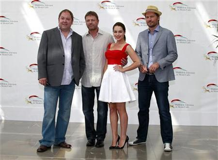 Actors Addy, Bean, Clarke and Coster-Waldau pose during a photocall at the 51st Monte Carlo television festival in Monaco